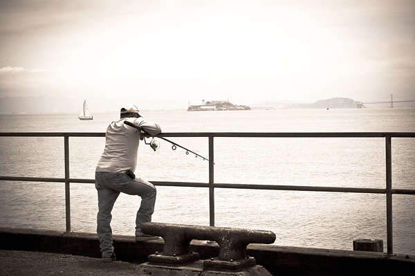 Fishing (by golden Gate CG Station) & Alcatraz beyond.