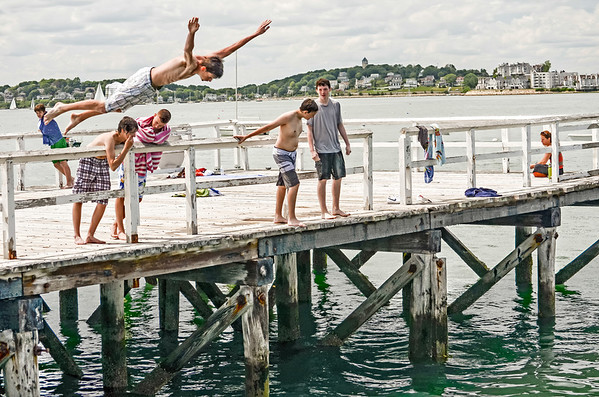 Dock Diving on a warm summer day in Hull, MA